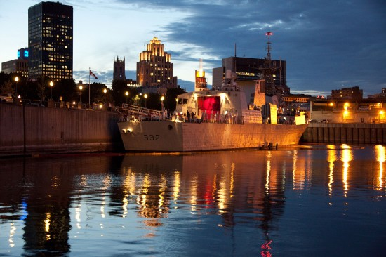 HMCS Ville de Quebec docks in Old Montreal Port